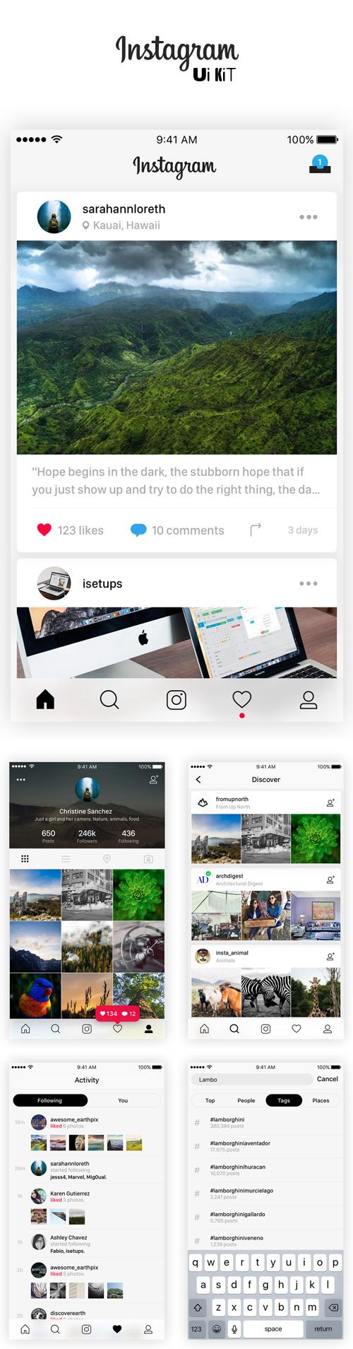 Free Instagram UI Kit