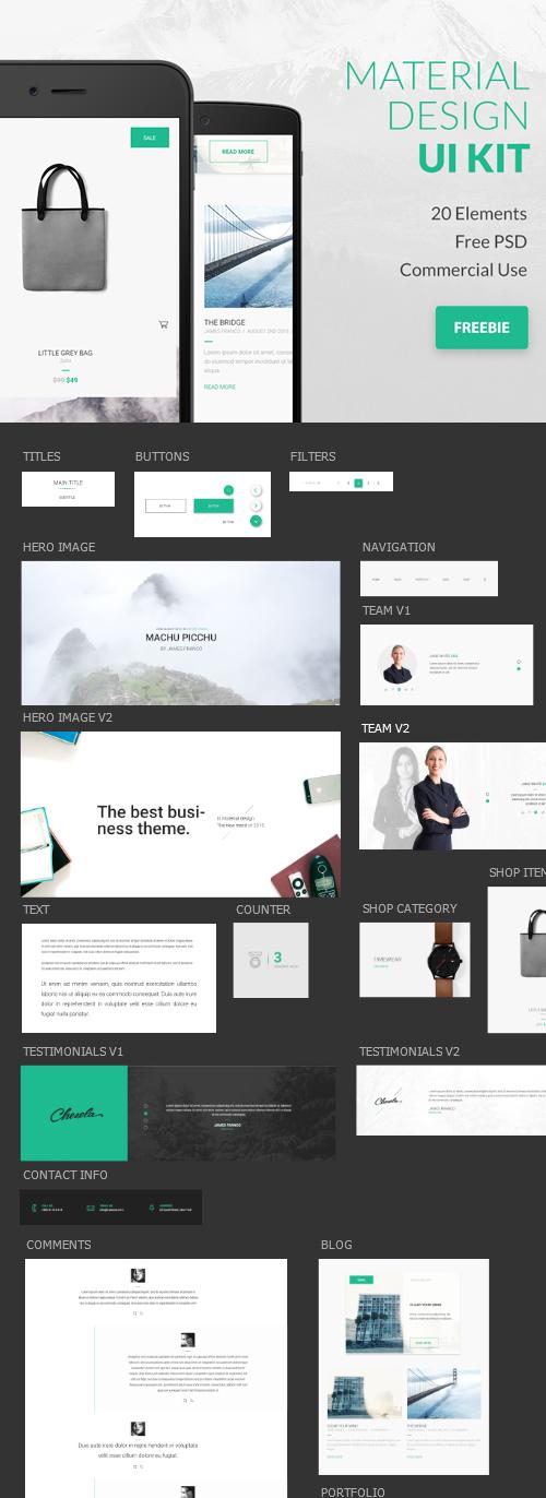Free Google Material Design PSD UI Kit