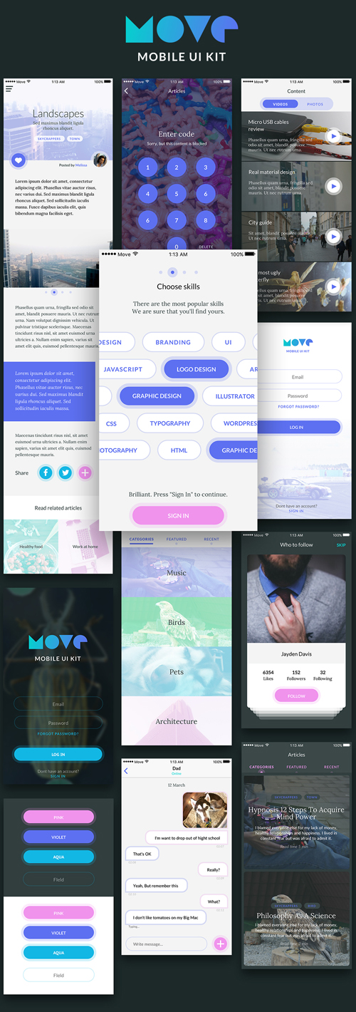 Move - Mobile UI Kit Free iOS Screens for Sketch