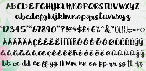 Sprightly Two Script Font Letters