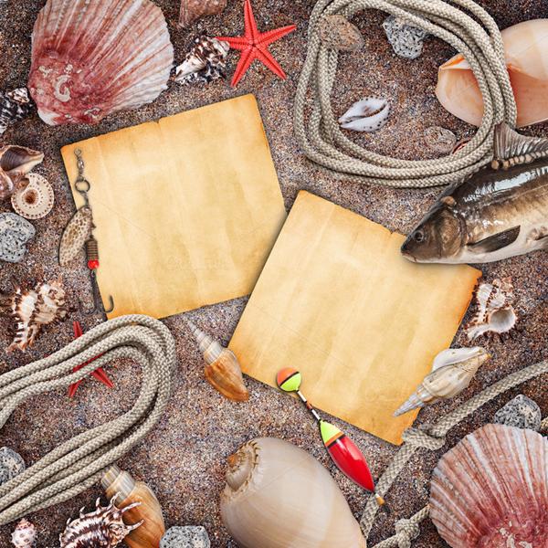 Frame on beach sand abstract photo