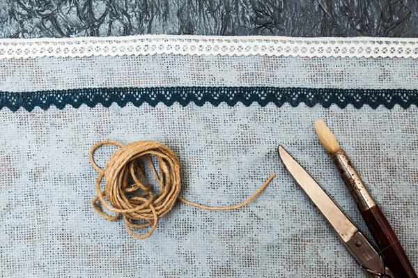 Handmade craft. Painted fabric
