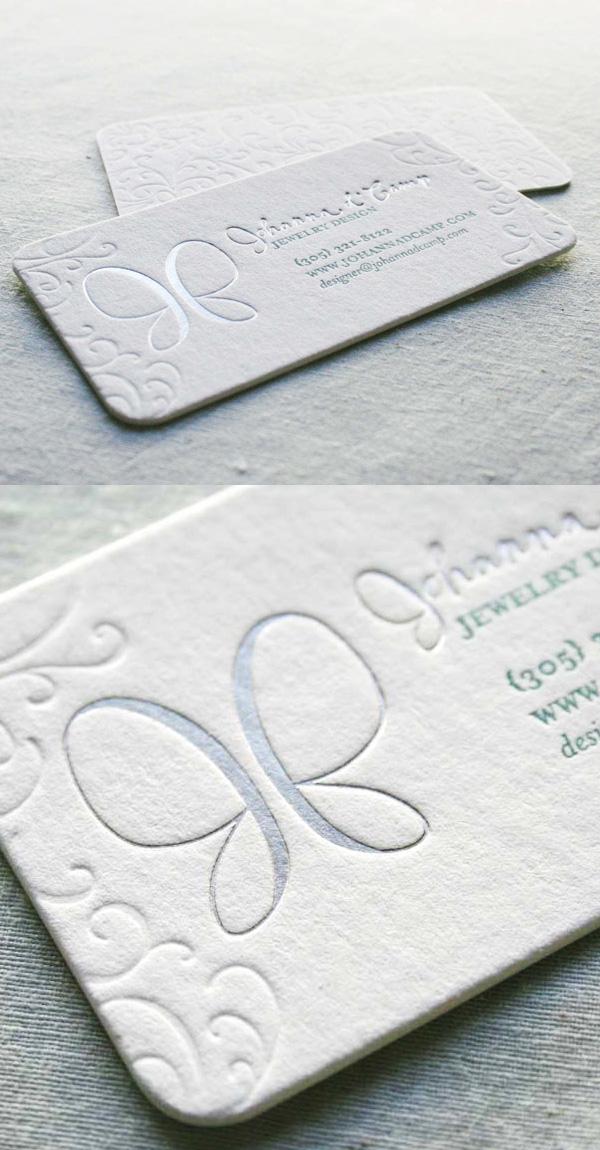 Johanna d'Camp Branding LetterPress Business Card