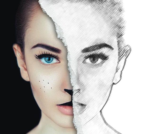 Create Half Sketch Effect In Photoshop Tutorial