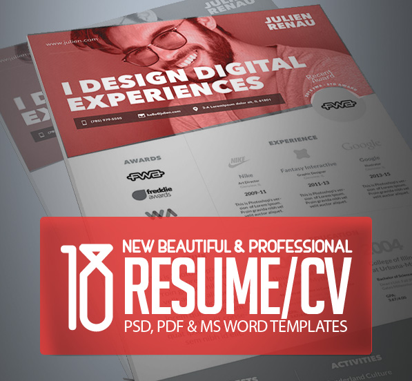 18 Professional CV / Resume Templates and Cover Letter