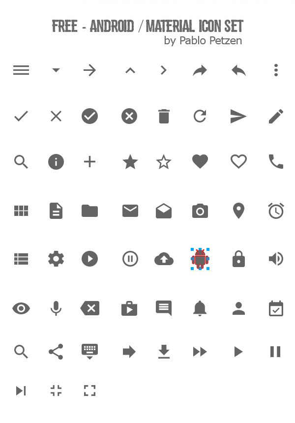 Free - Android / Material Icon Set (60 Icons)