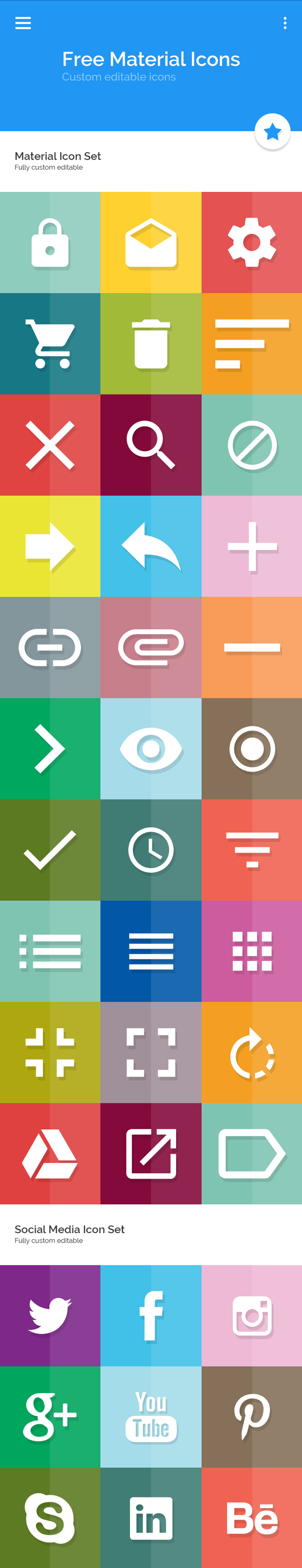 Free Material Icon Set (38 Icons)