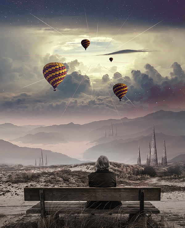 Create a Surreal Photo Manipulation of a Man Watching a Magical Sky