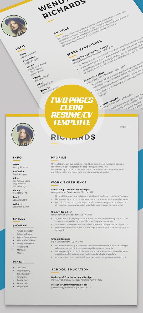 Minimal Clear Two Pages Resume/CV Template