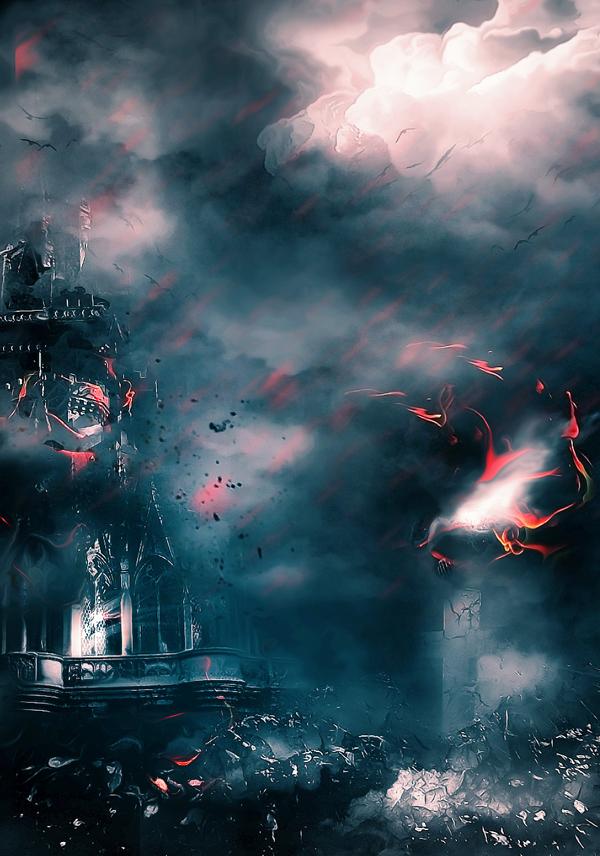 Create Castle Under Dark Force Photo Manipulation Scene In Photoshop