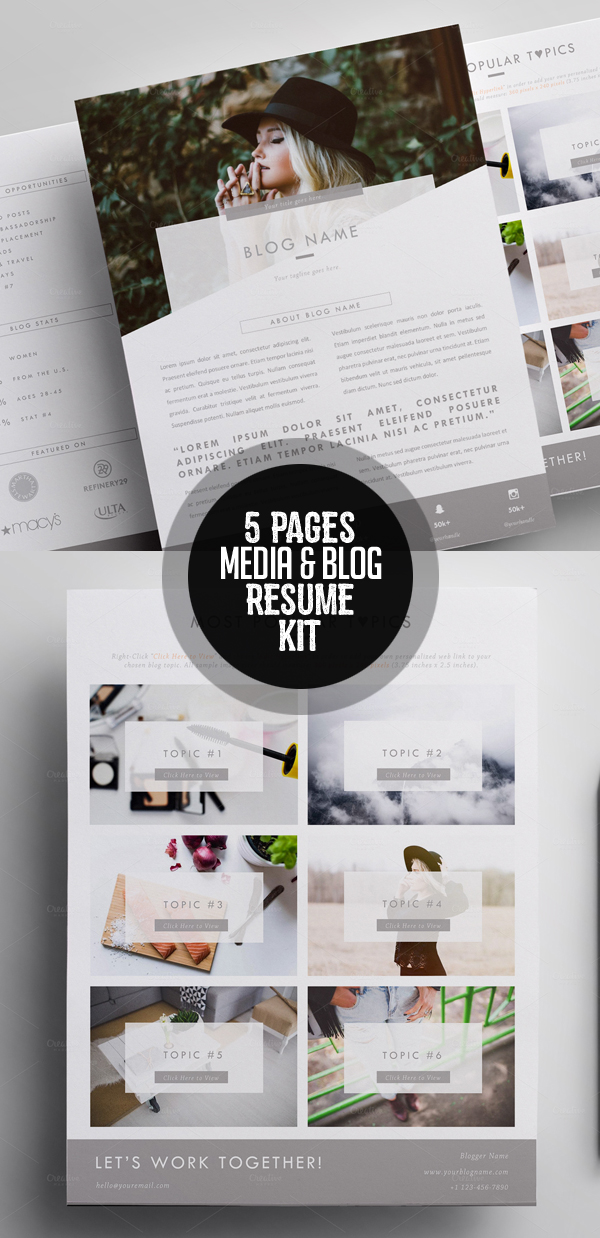 Elegant 5 Pages Media Kit Template + Proposal Letter