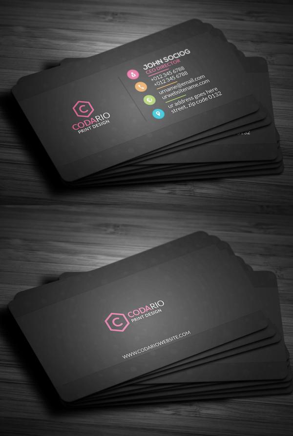 Sleek Dark Black Business Card