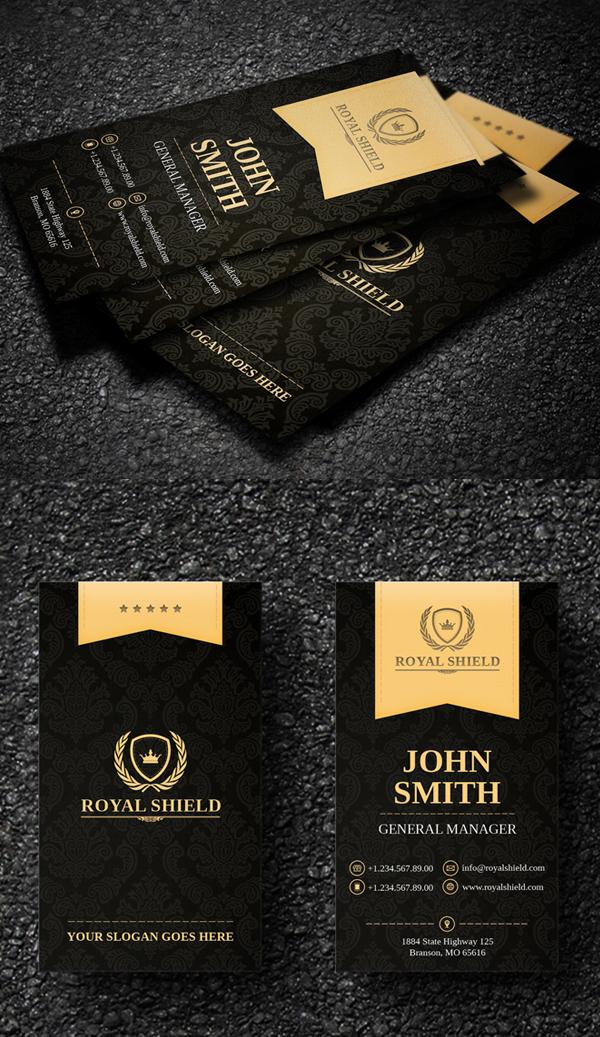 Elegant Gold and Black Business Card