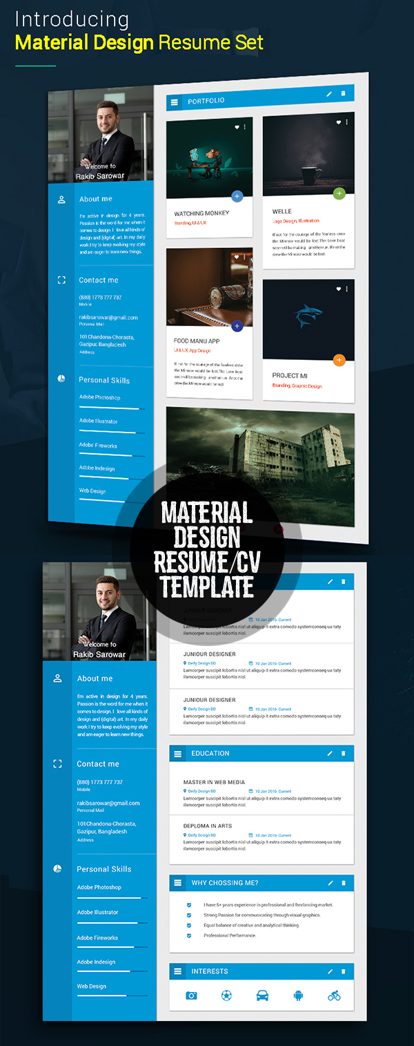 Material Style Resume/CV with Cover Letter & Protfolio