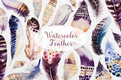 Watercolor BOHO feather DIY