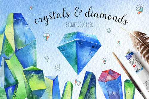 Watercolor crystals