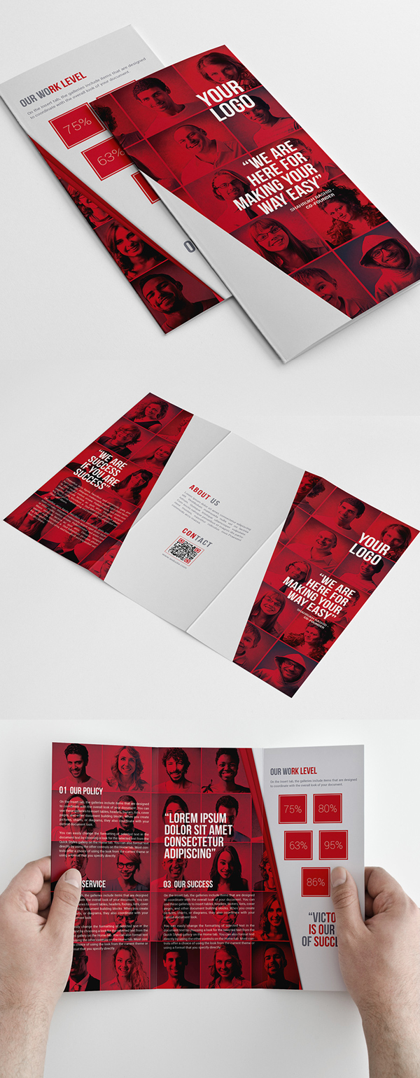 Red Corporate Trifold Brochure Template