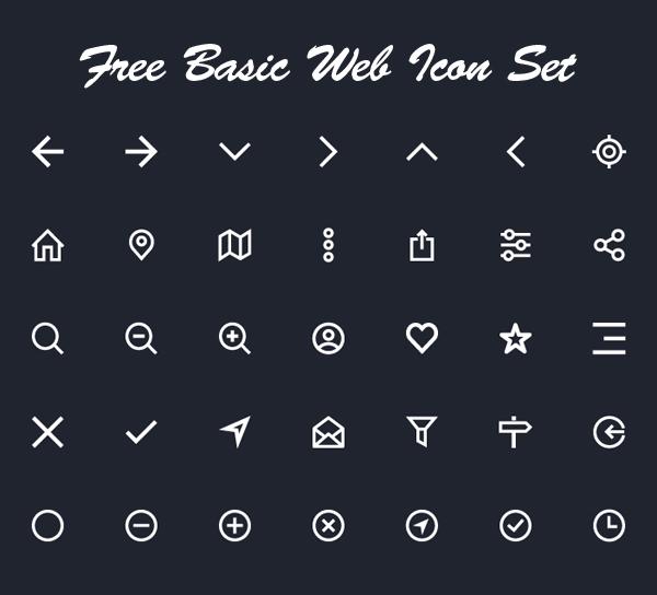 Free Basic Web Icon Set (34 Icons)