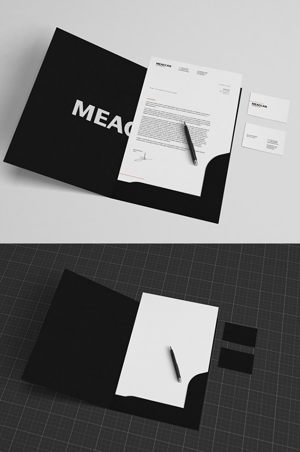 Free Black & White Stationery Mockup