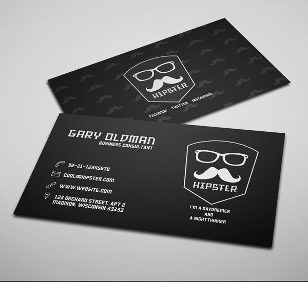 Freebie – Hipster Business Card PSD Template Dark Version