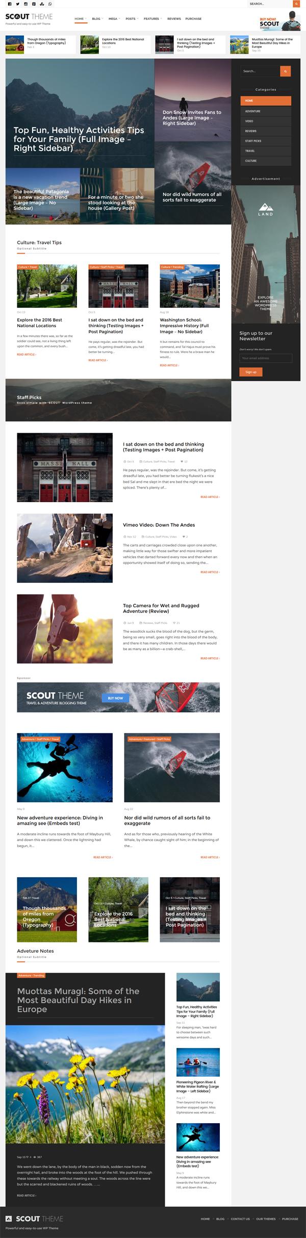 Scout - Adventure / Activity Blog WordPress Theme
