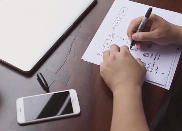 Web designer sketching