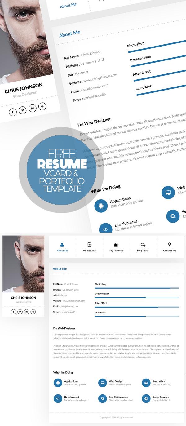 Free Personal Resume / Vcard & Portfolio Free Psd