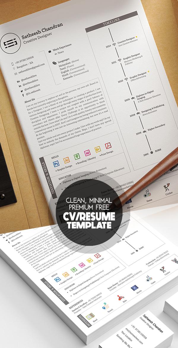 Free Clean, Minimal and Elegant Premium Resume Template