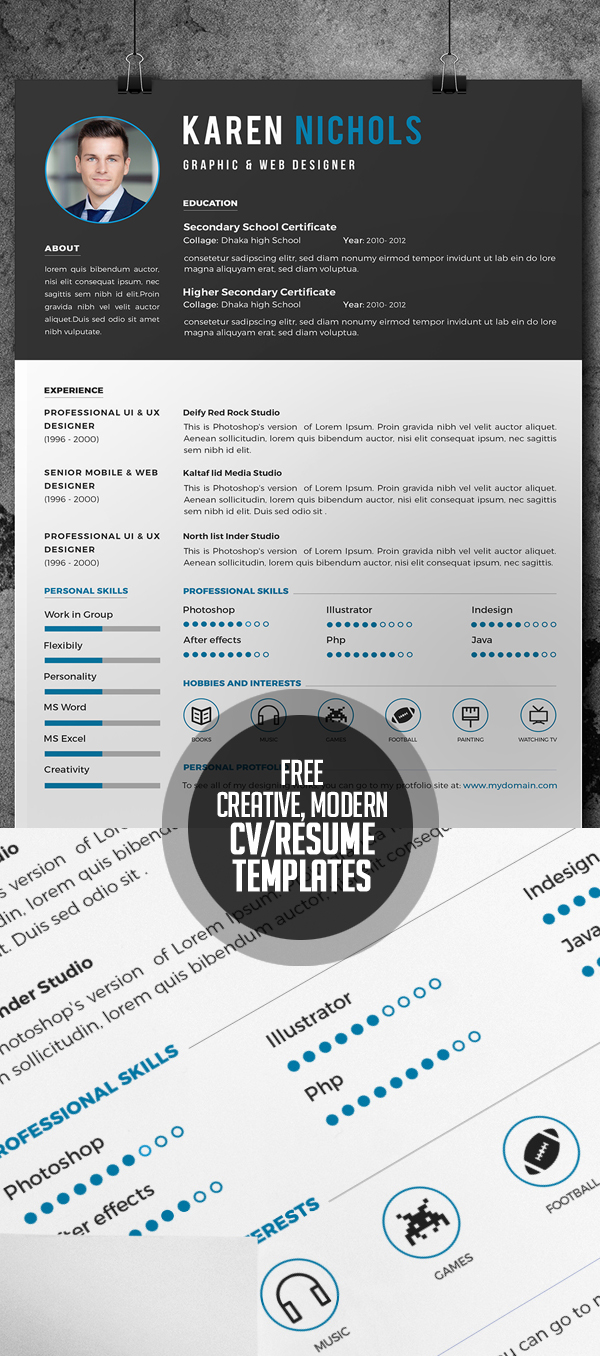 Free Creative, Modern and Coporate CV/Resume Templates