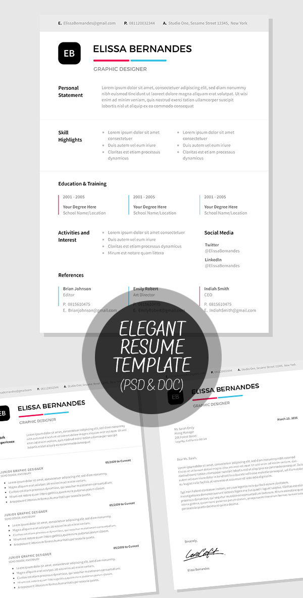 Elegant Resume Template in PSD and MS Word Format