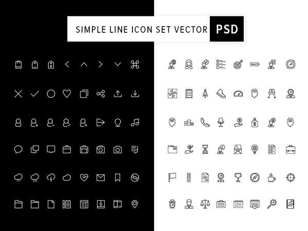 Simple Line Icon Set Vector PSD