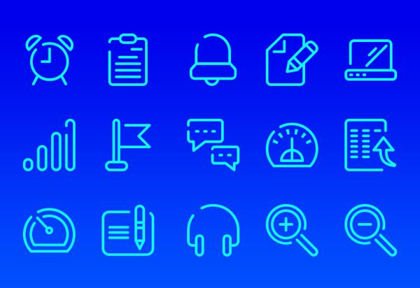 Neon Blue UI Icons Free PSD