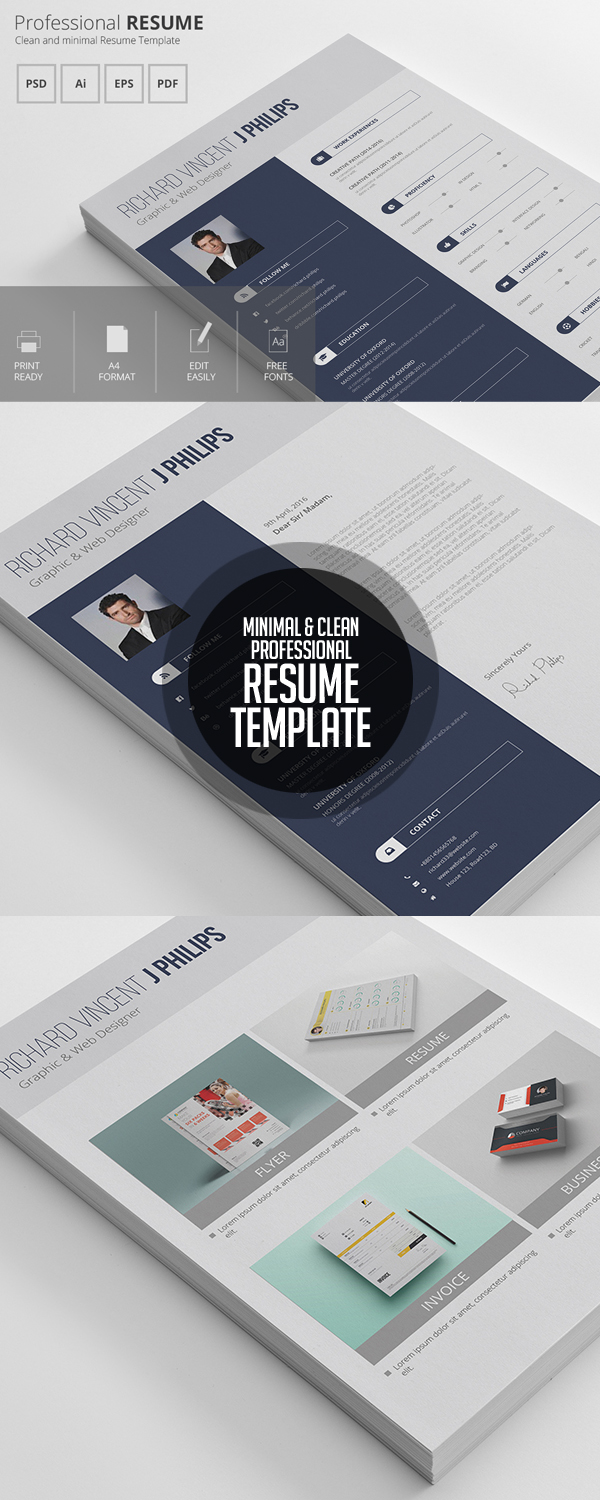 Professional 3 Pages Clearn Resume Template