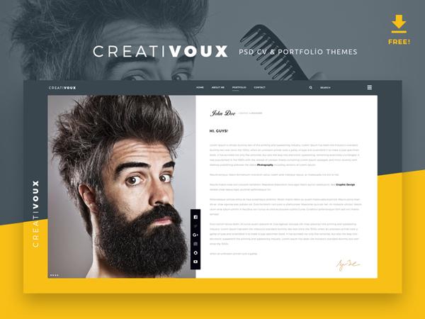 Free Psd CV & Portfolio Theme