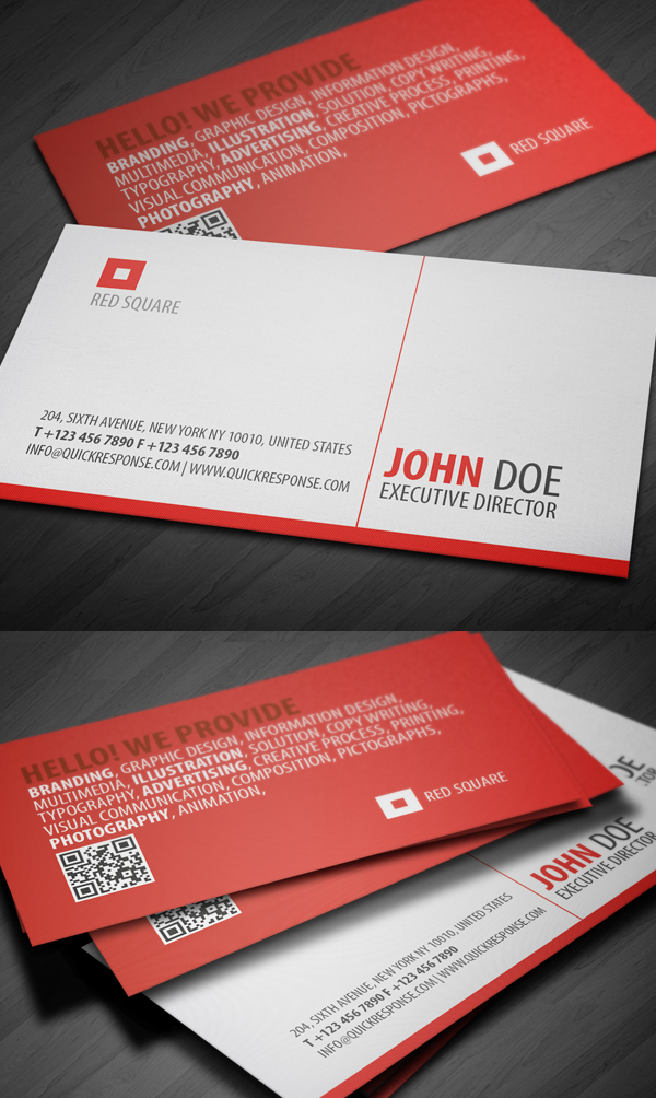 Red Square QR Business Card Design