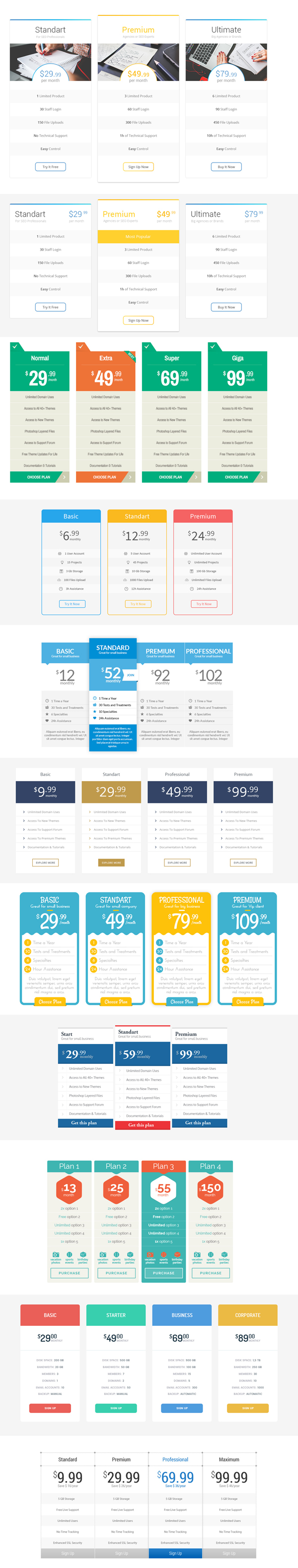 Free Pricing Tables 12 Designs PSD Template