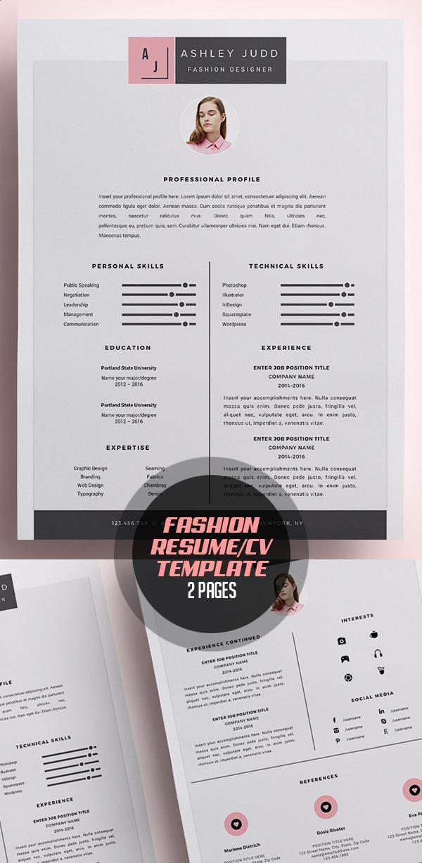 Fashion Designer Resume Template /CV