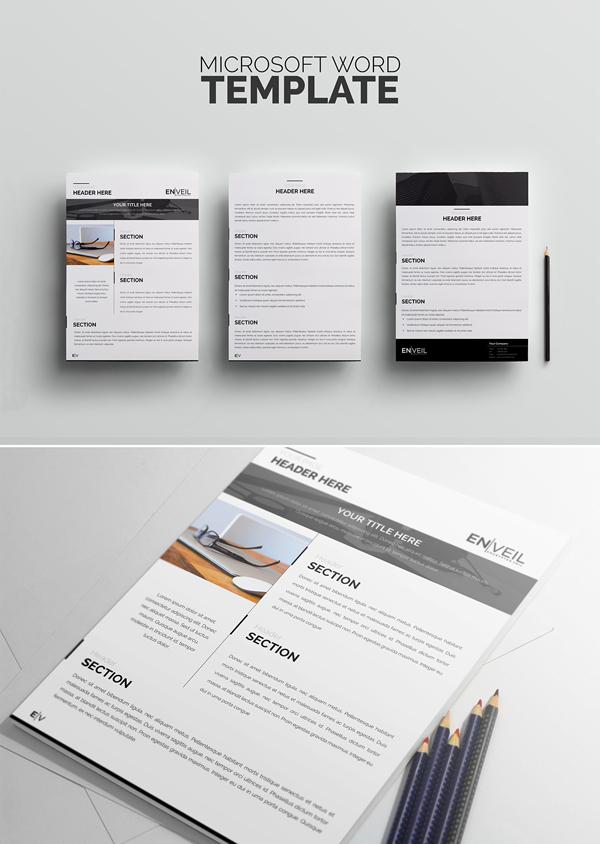 Free Microsoft Word Template A4 PSD Mockup Template