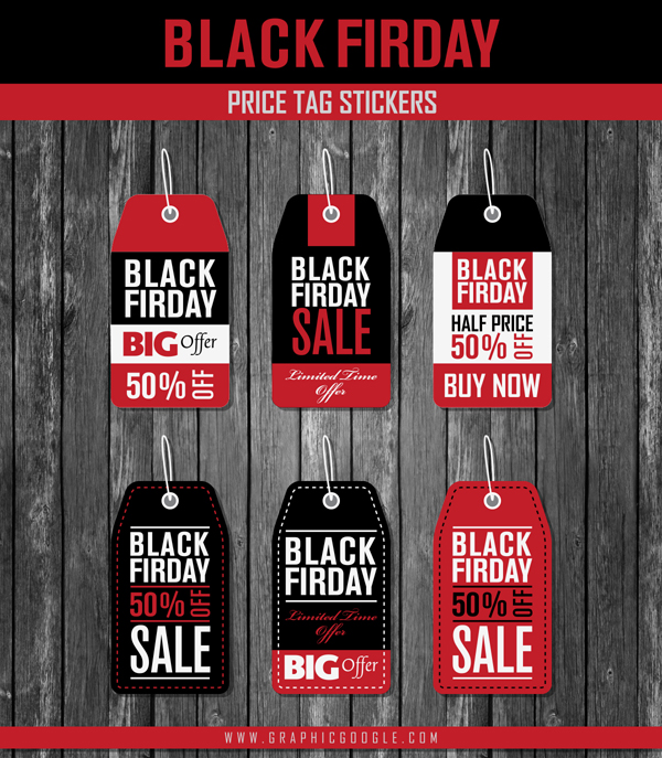 Free Black Friday Price Tag Stickers Vectors