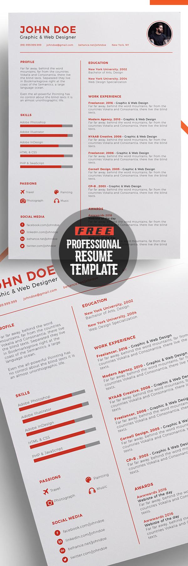 Professional Free Resume Template Design