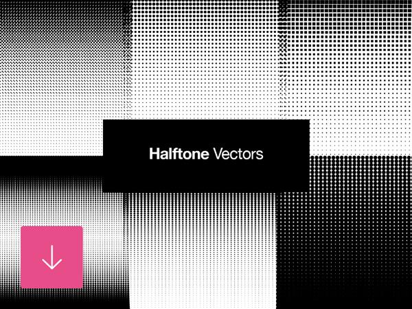 Free Set of Halftone Vector Retro Patterns