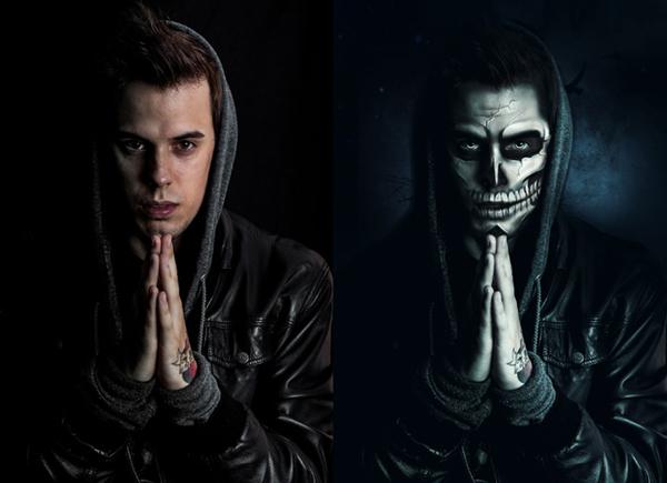 Paint Halloween-Inspired Skull Makeup in Photoshop Tutorial