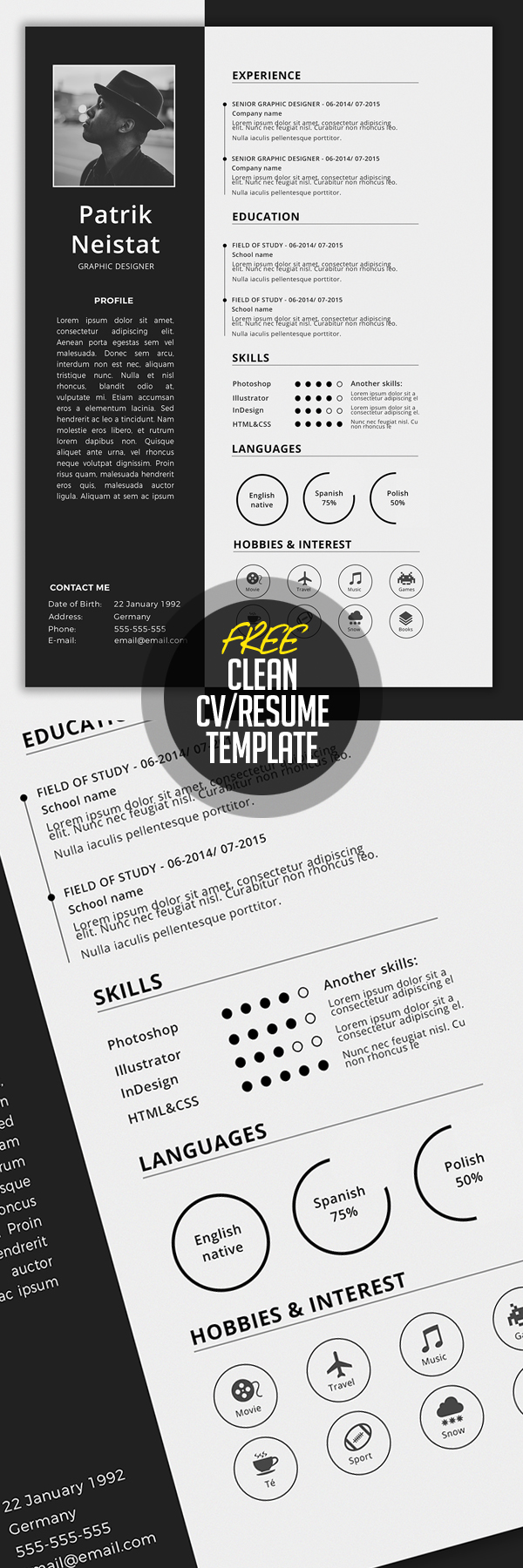Simple CV/Resume Template Free Download
