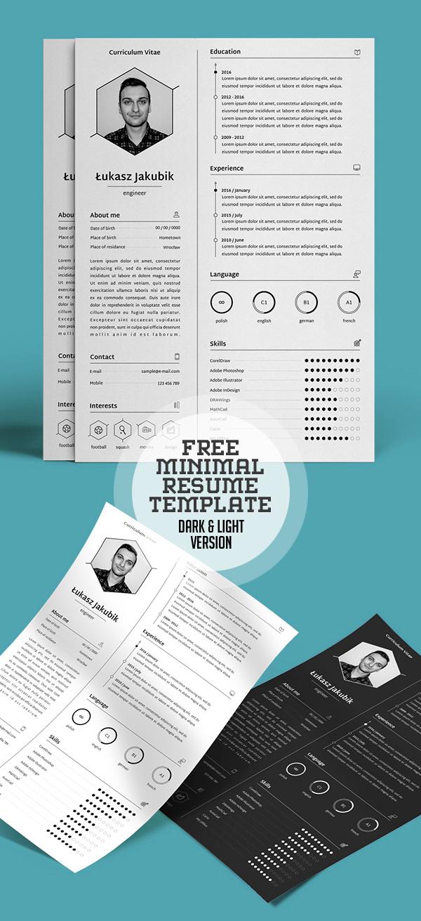 Free Minimal Resume Template (Dark & Light Version)