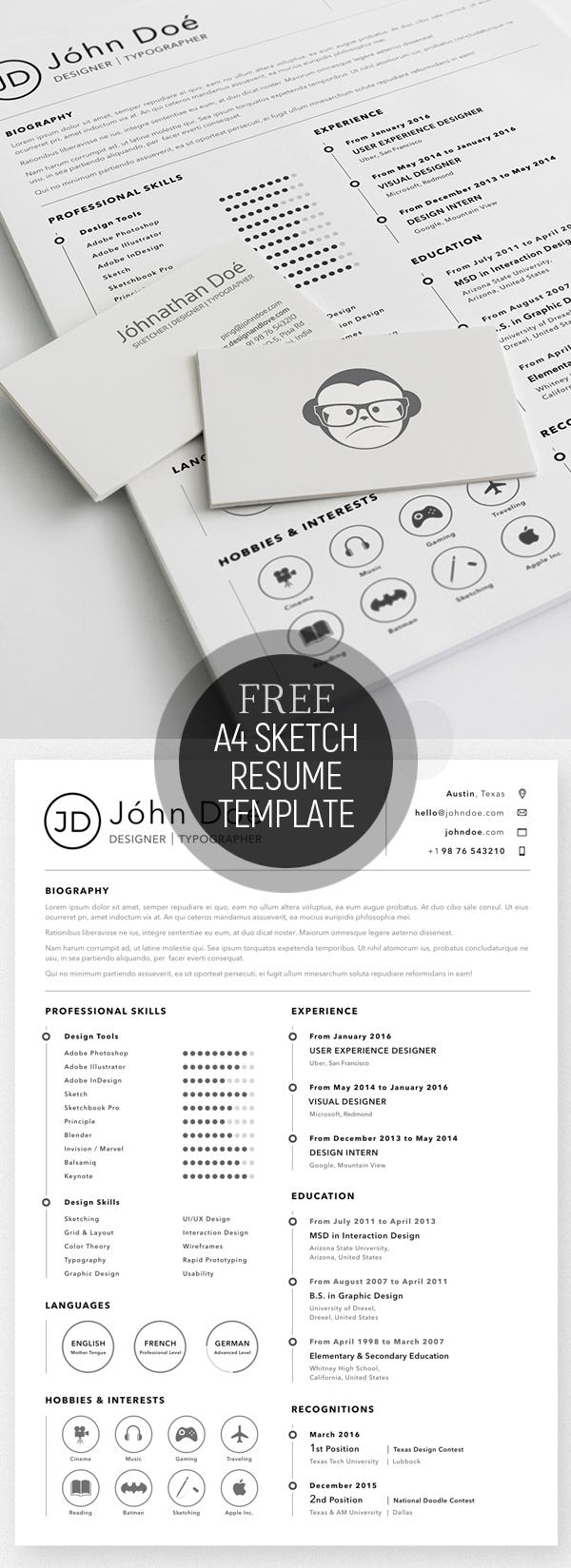 Free A4 Resume Sketch Template