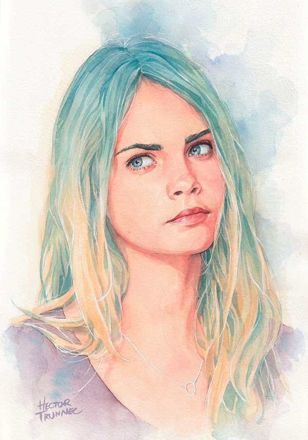 Amazing Watercolor Portrait Illustrations By Hector Trunnec - 8