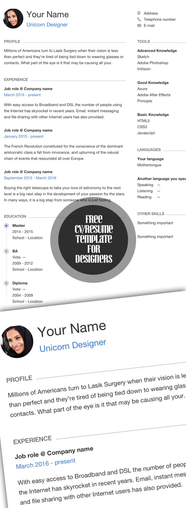 Awesome Free Resume for Designers