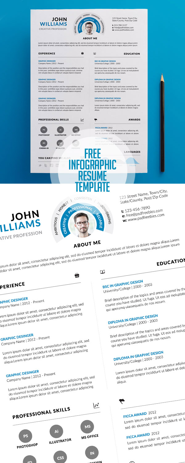Free Clean and Infographic Resume PSD Template