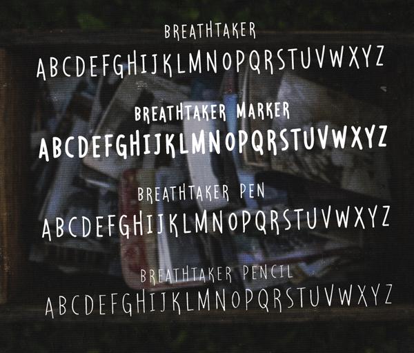 Breathtaker Handwritten Font & Letters