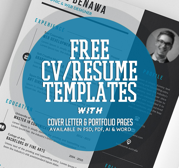 20 Free CV / Resume Templates 2017 with Cover Letter & Portfolio Pages